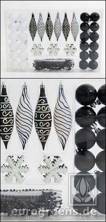 Weihnachtsbaum-Dekoration Set Schwarz-Weiß - 2. Wahl